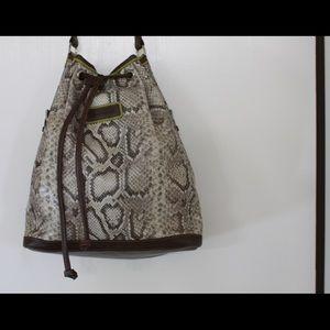 Longchamp Leather Bucket Shoulder bag Snake Print